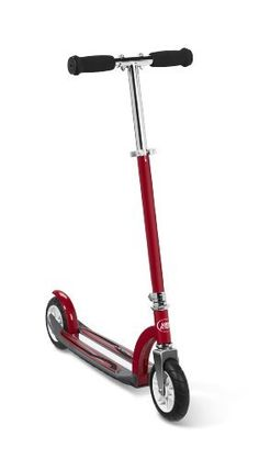 "Radio Flyer Air Runner Scooter Red by Radio Flyer. $63.23. Adjustable handle bar fits multiple height. For 5+ Years. Footbrake for added control. Air tires for a smooth ride on rough surfaces. Adjustable grow-with-me seat. From the Manufacturer                The Air Runner™ is a premium 2-wheel scooter built to handle even the roughest riders.  With a durable steel frame, precision ball bearings and 6"" rugged air tires, this scooter is specially designed to provide an ultra-s..."