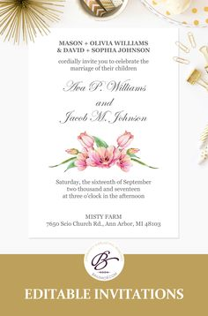 Popsugar must have box build your own box save 50 floral wedding invitation templates editable printable wedding invites stopboris Image collections
