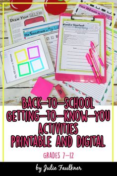 Printable and Digital Back to School Activities for Middle and High School.  These six no-prep mini lessons will give you variety for all levels of learners, options for multiple classes, and are fun icebreakers to get your students talking to each other and you! All the activities in the pack are built around the theme of identity, which is perfect for showing students you welcome them and care about who they truly are.
