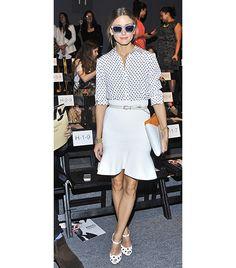 Olivia Palermo / Donning polka-dots at Fashion Week. #style #fashion #sunglasses