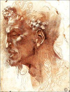 Michelangelo Buonarroti ~ Satyr's Head ~ created in Rome ~ ink on paper ~ high Renaissance ~ sketch and study ~ Musée du Louvre, Paris, France Caravaggio, Michelangelo, High Renaissance, Art Sculpture, Chef D Oeuvre, Italian Art, Art Graphique, Western Art, Fine Art Gallery