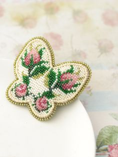 Beadwork Butterfly Bead embroidery brooch Beaded brooch Brooch butterfly Rosebud brooch Floral brooch Embroidery brooch Handmade jewelry Bead embroidery rose