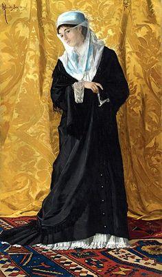 Osman Hamdi Bey (Istanbul Dame Turque de Constantinople, signed & dated oil on canvas, 120 x 60 cm estimate – c. Renoir, Art 33, Portrait Photos, Portraits, Portrait Paintings, Jean Leon, Empire Ottoman, Bagdad, Turkish Art