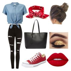 """Untitled #9"" by c-mcaulay ❤ liked on Polyvore featuring Topshop, Miss Selfridge, Yves Saint Laurent, Converse and Lime Crime"