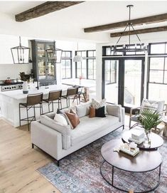 44 Inspiring Modern Open Living Room Design Ideas – Home Decor Living Room Kitchen, Living Room Modern, Living Room Designs, Living Spaces, Cozy Living, Open Living Rooms, Living Room Layouts, Living Room And Kitchen Together, Kitchen Sitting Areas