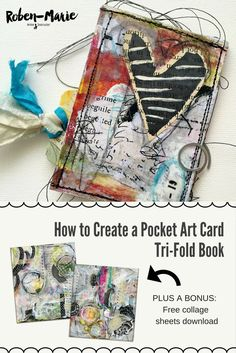 How to create a pocket art card tri-fold book with Roben-Marie Smith, featuring a video tutorial with step-by-step directions. Part of the Documented Life Project 2016 The unPlannerhosted by Art to the 5th. @robenmarie