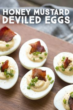 These are football party ready!! Honey Mustard Deviled Eggs | PDXfoodlove