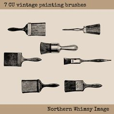 Vintage Paint Brush Image Set – 7 PNG clip art images plus photoshop brushes – Paint Brush Digital Stamp Set – paint brushes -commercial use