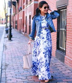 Wonderful floral maxi dress!Love the whole outfit!