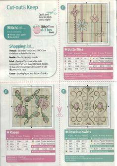 Cross Stitch Crazy 176 (May - 7 Sweet Scents Sachets Small Cross Stitch, Cross Stitch Flowers, Cross Stitch Designs, Cross Stitch Patterns, Cross Stitching, Cross Stitch Embroidery, Cross Stitch Boards, Square Patterns, Card Tags