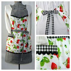 Women's Full Retro Kitchen Apron - Chef's Apron - Gingham Strawberries