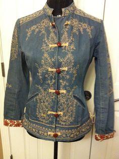 Unique!! Anthropologie PLENTY Embroidered Jean Jacket Size S #Plenty #BasicJacket