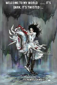 Alice In Wonderland Dark Madness Disney fairytales Dark art Anime Alice with stick horse and Alice covered in blood Alice Liddell, Dark Alice In Wonderland, Adventures In Wonderland, Alice Madness Returns, Chesire Cat, Were All Mad Here, Lewis Carroll, Disney Tattoos, Geeks
