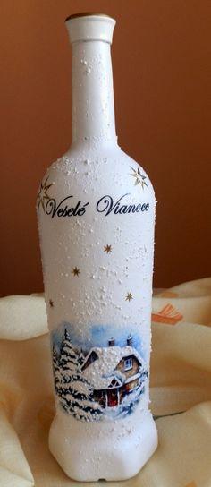Decoupage - Vianočná fľaša