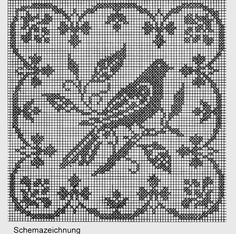 Crochet Birds, Crochet Cross, Crochet Motif, Crochet Doilies, Crochet Stitches, Thread Crochet, Crochet Patterns, Cross Stitch Bird, Cross Stitch Borders