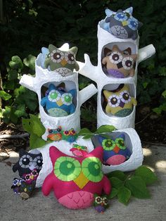 paper mache trees made to display my felt owls www.crinolineshop.com
