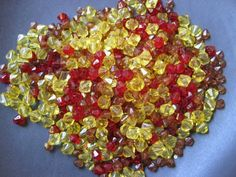 '500 Mixed Red / Yellow / Caramel Beads 4 mm / 3mm' is going up for auction at  4am Sun, Oct 28 with a starting bid of $8.