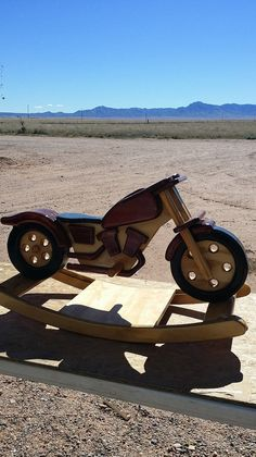 Custom Handmade Wooden Motorcycle Rocking Horse
