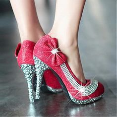Elegant Round Closed Toe Red Bow Tie & Diamond Embellished Stiletto High PU Party Pumps - Sweetiee.com