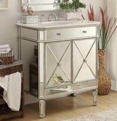 """32"""" Mirror Reflection Austell Bathroom Sink Vanity Model # 5105SC Silver leaf finish"""