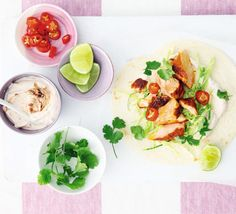 Grilled salmon tacos with chipotle lime yogurt Grill healthy fish with chipotle spice then serve with cabbage salad, coriander and chilli in soft tortillas Salmon Recipes, Seafood Recipes, Mexican Food Recipes, Ethnic Recipes, Fish Recipes, Bbc Good Food Recipes, Healthy Recipes, Yogurt Recipes, Healthy Dinners