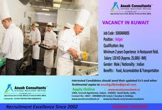 Required Male Helpers for a leading Restaurant Kuwait. Qualification: Any. Should have minimum 2 years Experience is required. Interested candidates contact 0427 400 4800 or send resume at anushgulfjobs@gmail.com or Apply online http://www.anushconsultants.in/restaurant-helper-vacancy-kuwait/