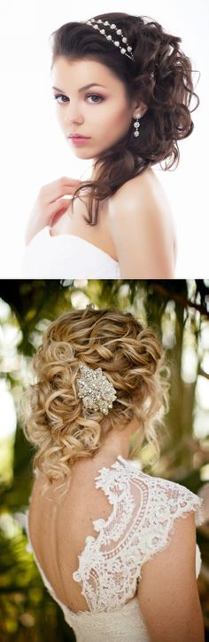 Bridal Hair - It's like an updo but with long hair coming down. / brunette / blonde/ curls / elegant