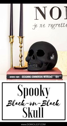 Black on Black Skull | Creepy Halloween Decor | Halloween Decor and DIY