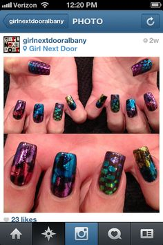 "We love this ""Edgy-80's"" #NailArt Instagrammed by Nail Pro and CND Fan girlnextdooralbany, created with CND Shellac™ in Black Pool, foil, and netting."