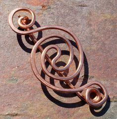 Copper Shawl Pin Fibula Brooch with Celtic by BebesBaublesJewelry