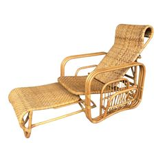 Mid century rattan and cane lounge chair with extending ottoman. Ottoman is attached and tucks under. Chair back is adjustable, with a magazine rack on the side. Rattan Furniture, Home Furniture, Furniture Design, Outdoor Furniture, Outdoor Decor, Chaise Sofa, Armchair, Chair Backs, Furniture Inspiration