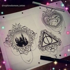 Id love to tattoo these designs! See me at The Projects Tattoo or Email/ Pm me for info sophie.adamson@hotmail.co.uk #tattoo #design #deathlyhallowstattoo #harrypotter #art #castle #ink #heart #neotraditional #neotradeu #tattooartist #tattooworkers #uktattoo #plymouth #instagood
