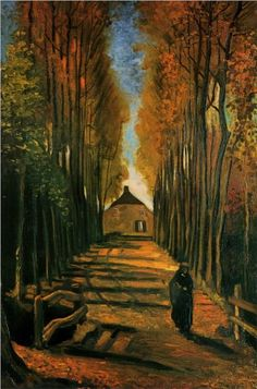 """Avenue of Poplars at Sunset"" in 1884 by Vincent van Gogh. Oil on canvas."