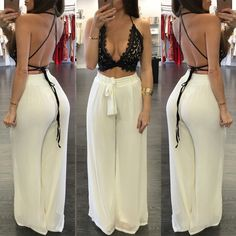 2016 Sexy Deep V neck Women Jumpsuit Summer Two Pieces Set Lace Backless Crop Top Long Loose Pants Beach Party Bodycon Playsuit - - Houzz of Threadz - V-neck Strap Lace Hollow Out Top Wide Legs Pants Suit - Shoes-Party - combinaison femm Classy Outfits, Chic Outfits, Fashion Outfits, Womens Fashion, Fashion Bra, Beach Outfits, Woman Outfits, Beach Dresses, Feminine Fashion