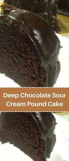 Delicious Deserts, Delicious Cake Recipes, Fun Baking Recipes, Yummy Cakes, Dessert Recipes, Dessert Ideas, Drink Recipes, Sour Cream Chocolate Cake, Sour Cream Pound Cake