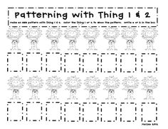 Free!! Thing 1 & 2 patterning game...I will make this a dot/color/cover reinforcer!  Includes color sheets for Thing 1 & 2!