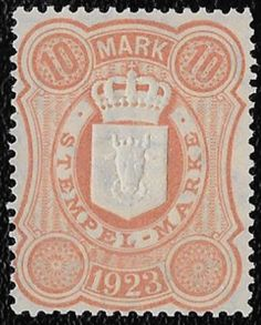 + 1923 Mecklenburg-Schwerin Germany Embossed Revenue Erler #58 10M MNH