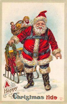 Christmas Postcard Santa Claus Pulling a Sled of Toys Through the Snow~114790 #Christmas