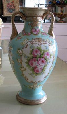 Nippon Hand Painted Vase With Blue Leaf Mark Antique China, Vintage China, Antique Vases, Nippon Paint, Vintage Display, Japanese Porcelain, Blue Leaves, China Painting, China Porcelain