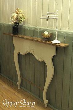 Upside down dresser yoke as side table.