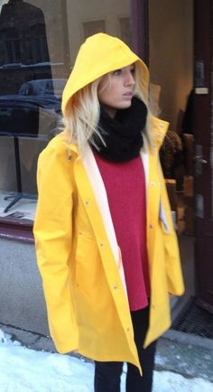 An excellent Summer product. Yellow Coat, Yellow Raincoat, Girls Wear, Women Wear, Spring Summer Fashion, Winter Fashion, Raincoat Outfit, Rainy Day Fashion, Hooded Cloak