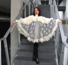 Women Poncho Grey White wool Cape, Felted poncho, Wings poncho Grey wool cape  outerwear oversized poncho,  poncho for women by galafilc on Etsy
