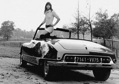 JANE BIRKIN - DS ID DECAPOTABLE CHAPRON CITROEN - tirage photo 8X12 CM