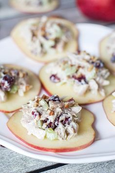 If you are looking for a perfect appetizer, this Cranberry Chicken Salad on crunchy and fresh apple slices is exactly what you need!   yummyaddiction.com