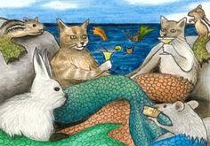 ACEO art print Cat Mermaid fantasy painting by Canadian artist Lucie Dumas Fantasy Mermaids, Real Mermaids, Mermaids And Mermen, Mermaid Drawings, Mermaid Paintings, Mermaid Cat, Mermaid Sculpture, Mermaid Pictures, Fantasy Paintings