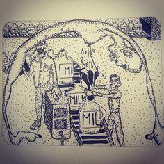 hegvannasche:  The #milk #factory #rotring #rapidograph #illustration #drawing on #moleskine #sketchbook #ink