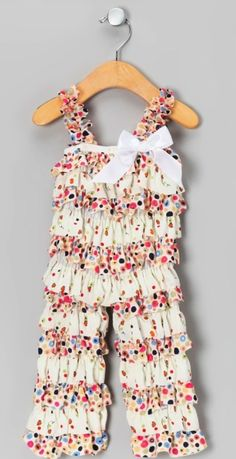"""These Zulily ruffled jumpers are adorable. Cute inspiration to make a American Girl 18"""" Doll jumper."""