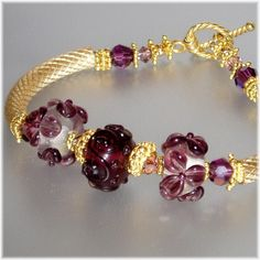 Amethyst  Swarovski,Lampwork, 14lt Gold-Filled and Vermeil Bracelet