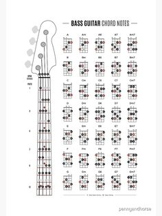 """""""Bass Guitar Chord & Fretboard Notes"""" Poster by pennyandhorse Bass Guitar Scales, Bass Guitar Notes, Learn Bass Guitar, Music Theory Guitar, Guitar Chords Beginner, Guitar Chords For Songs, Guitar Chord Chart, Guitar For Beginners, Music Guitar"""