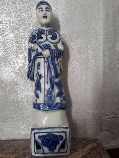 Rare Excellent Chinese Fujian Guild Blue White Porcelain Statues Figurine 35 cm